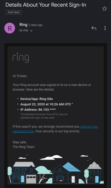 Phone screenshot of a recent Ring sign-in email that I received.
