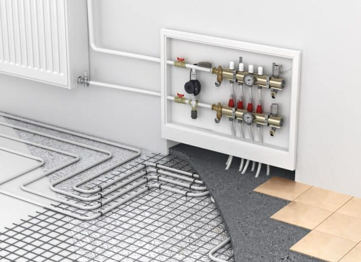 Diagram of water based underfloor heating, showing the heating manifold and the pipework going through the floor, and spread out underfloor.