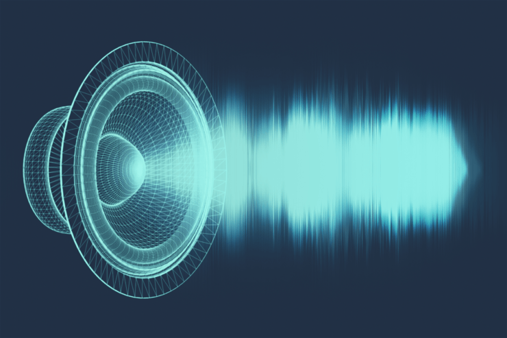 A speaker pushing out sound waves