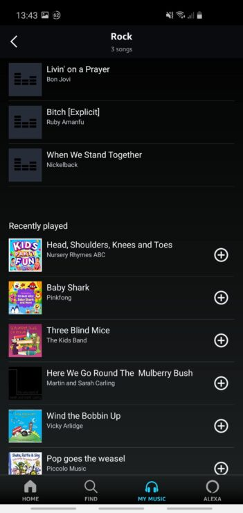 Screenshot from my Amazon Music app - adding individual songs to my new 'Rock' playlist