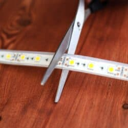 An LED light strip about to be cut along the cutting line