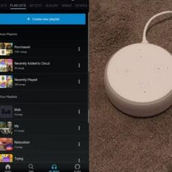 One of my Echo Dots on the floor, plus a screenshot of the Amazon Music's playlists section next to it.