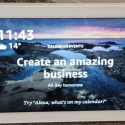 "Echo Show calendar home card, showing tomorrow's upcoming event of ""Create an amazing businesss""!"