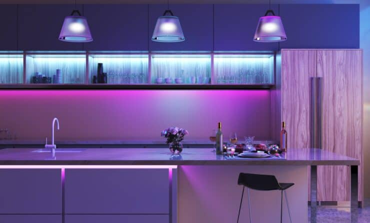 Kitchen with various smart lighting installed, and set to a purple-style color