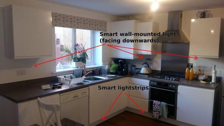 My smart lighting plans for my kitchen: with smart lightstrips under the floor cabinets, and smart wall-mounted lights (facing towards the counter) on some walls below wall-cabinets.