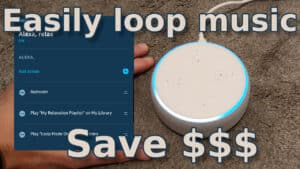 YouTube thumbnail showing how to loop songs on Amazon Echo devices.