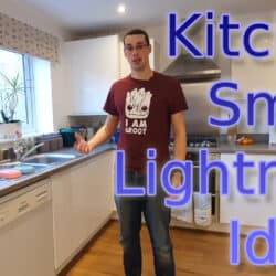 "YouTube thumbnail showing me in my kitchen, with the text ""Kitchen Smart Lighting Ideas"""