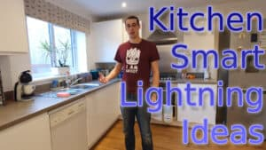 """YouTube thumbnail showing me in my kitchen, with the text """"Kitchen Smart Lighting Ideas"""""""
