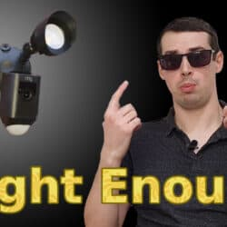 "YouTube thumbnail showing me wearing sunglasses, the Ring Floodlight Cam and the text ""Bright enough?"""