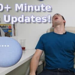 "YouTube thumbnail showing me asleep, with a Google Nest Mini and the text ""Fix 10+ minute news updates!"""
