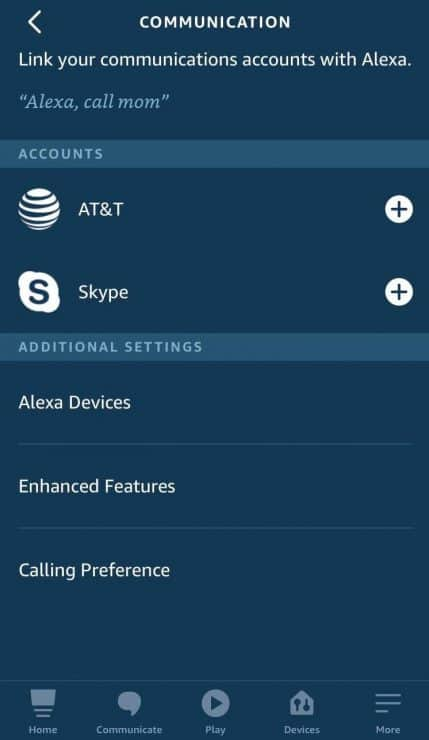 Alexa app communication tab showing AT&T and Skype
