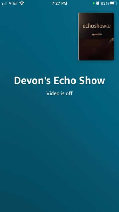 Alexa call output when Echo Show camera is off