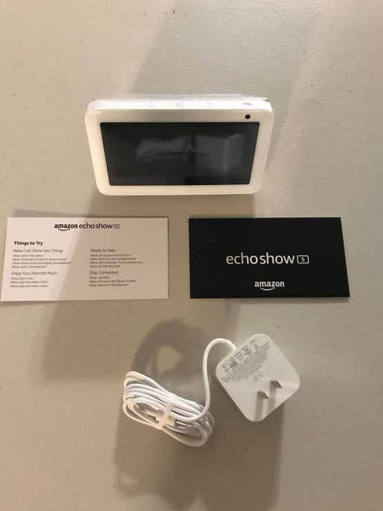 Echo Show 5 device booklet and power plug