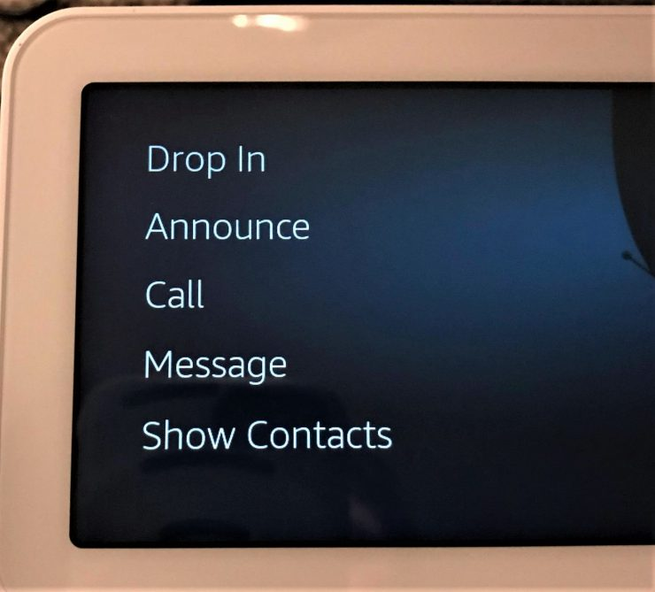 Echo Show screen for drop in, announce, call & more