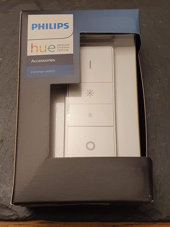 My Philips Hue dimmer switch in its box
