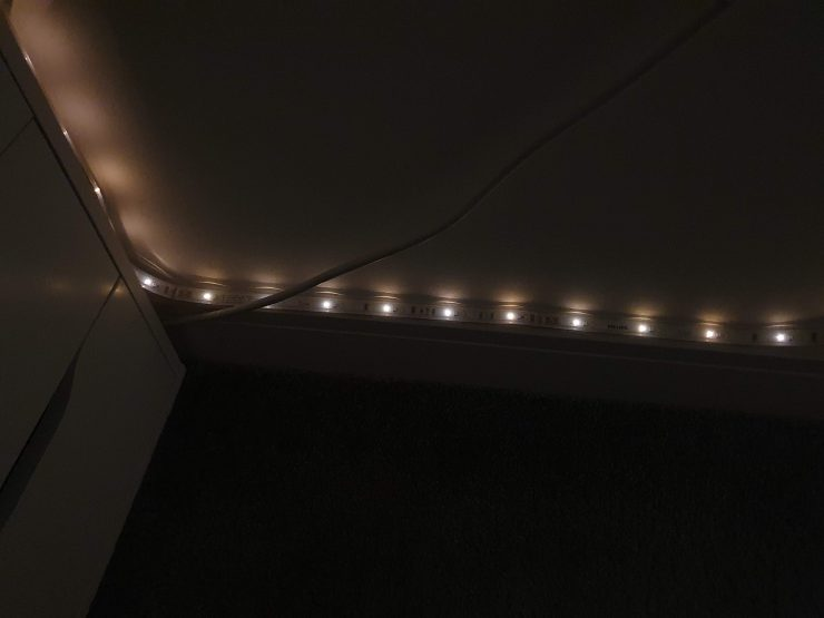 A Hue Lightstrip dimmed down to 1 percent
