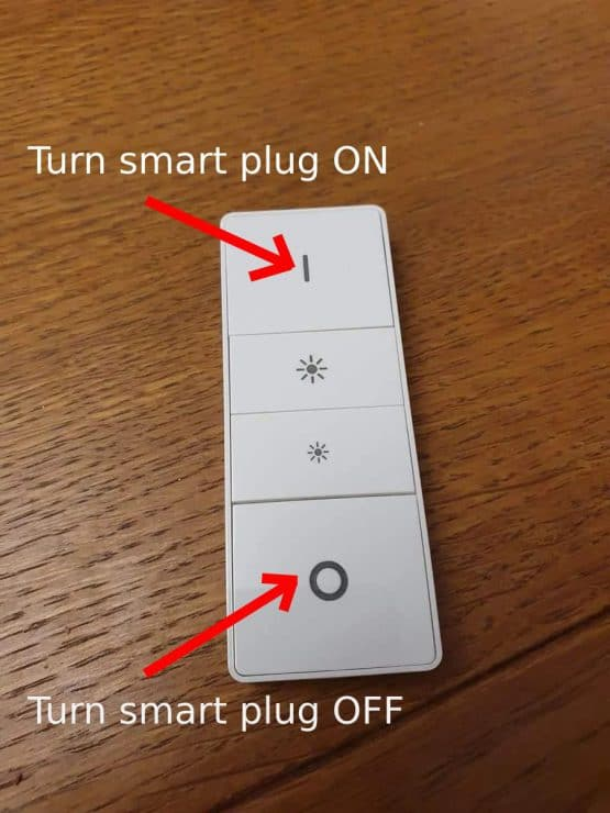 Hue dimmer switch with turn on and off arrows