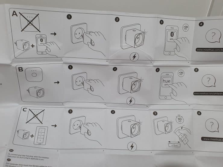 Philips Hue smart plug manual showing the different install modes