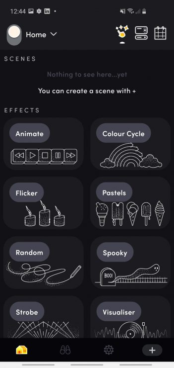 The LIFX app Effects tab showing the 8 available effects