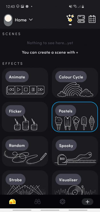 The LIFX app Effects tab with Pastels selected