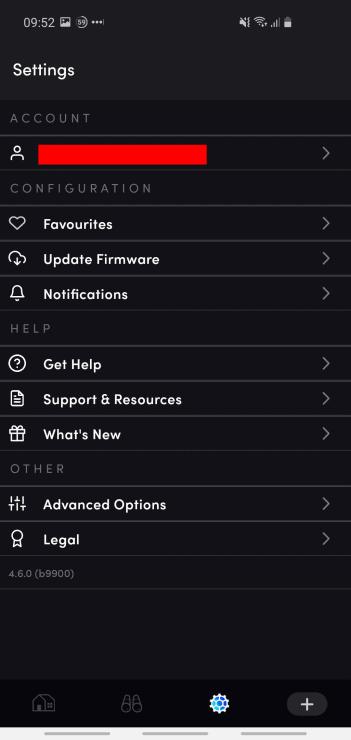 The LIFX app's Settings menu