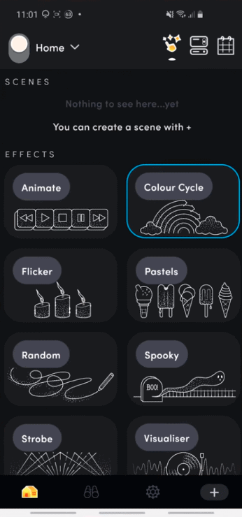 The effects section from my LIFX app, showing animate, colour cycle, flicker, pastels, random, spooky, stroke and visualiser options.