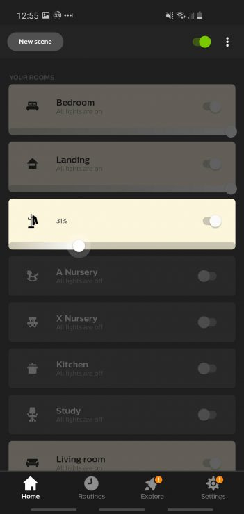 Philips Hue app dimming to 31%