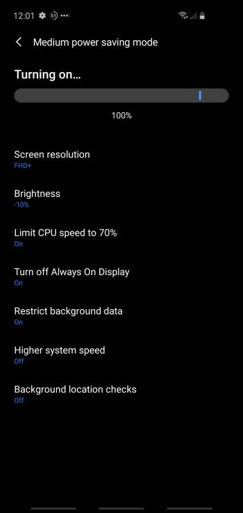 Samsung S10: power saving mode being switched on