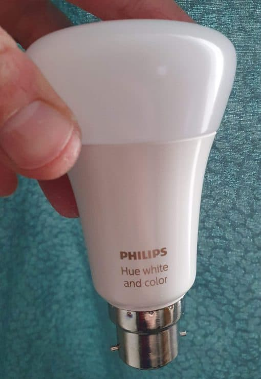 A Philips Hue full RGB White and Color Ambiance bulb