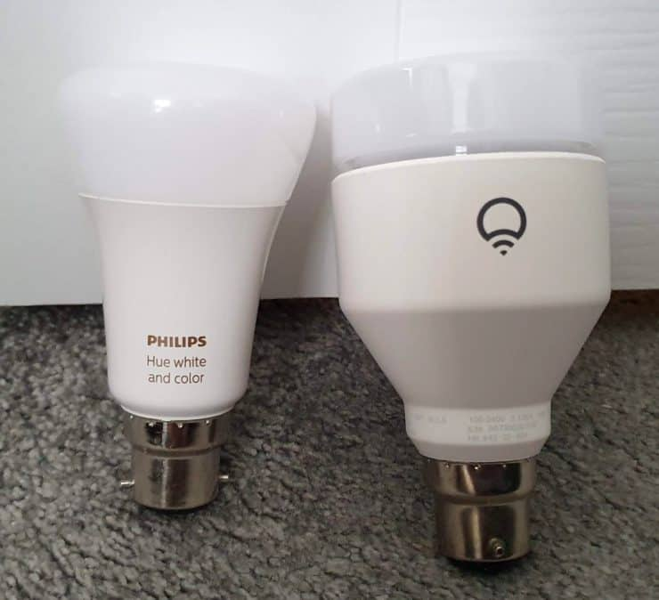Two full RGB smart bulbs from Hue and LIFX side by side