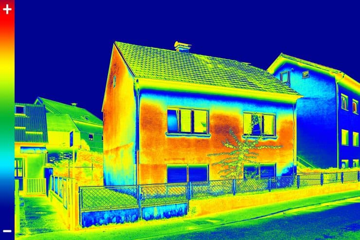 Infrared light signatures from a house