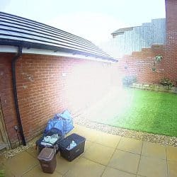 Ring camera footage with fogging obscuring the view in the middle