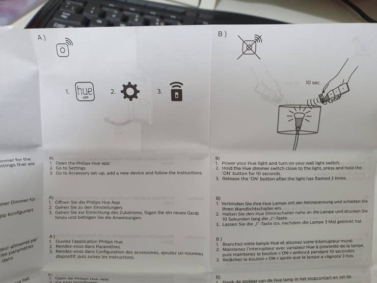 The Hue Dimmer Switch manual showing its two main pairing methods