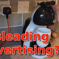 YouTube thumbnail showing a smart plug my coffee machine and the text Misleading Advertising