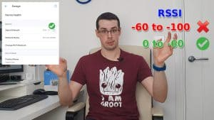 YouTube thumbnail showing me talking with a Ring app screenshot and RSSI values to the side