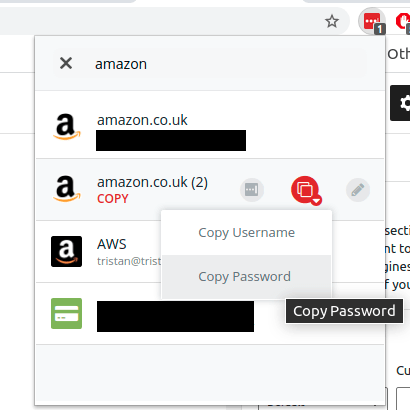 Copying a password from LastPass