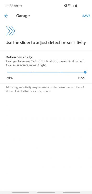Motion Sensitivity option from within the Ring app