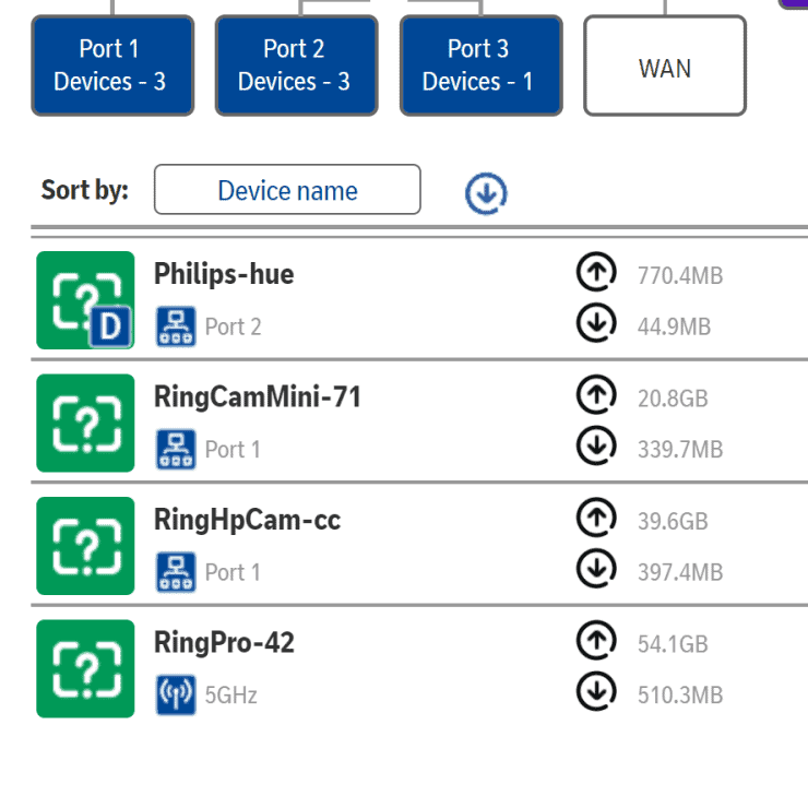 Ring and Philips Hue internet usage from my BT HomeHub