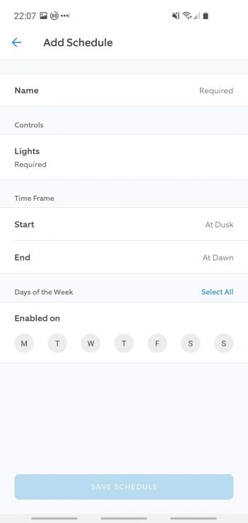 Ring app showing lighting control within a schedule including times and days of week