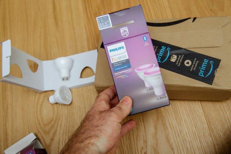 The box of the Philips Hue GU10 gen 2 bulbs