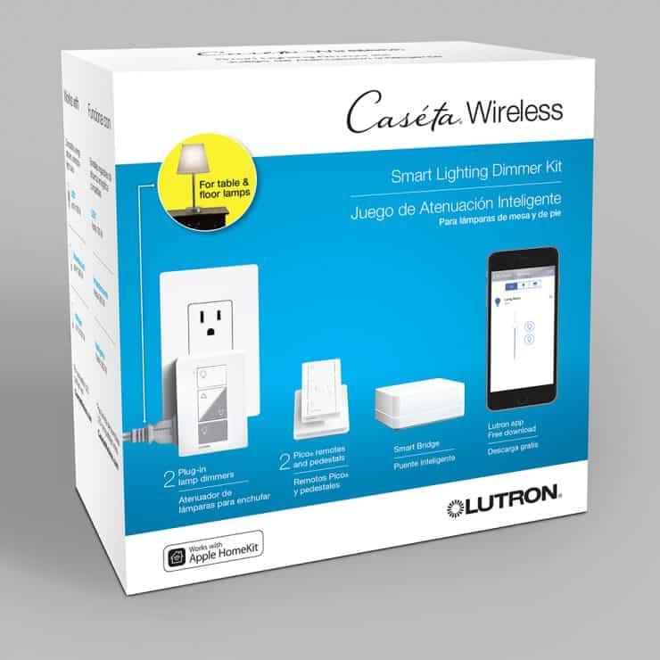 Lutron Caseta smart lighting dimmer kit with dimmer remote and smart bridge