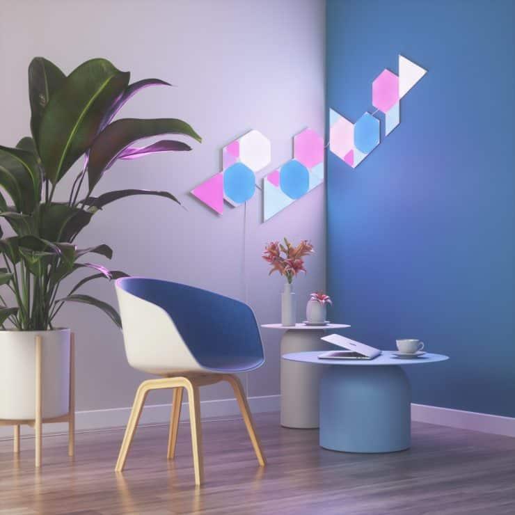 Nanoleaf shapes with corner flex connectors
