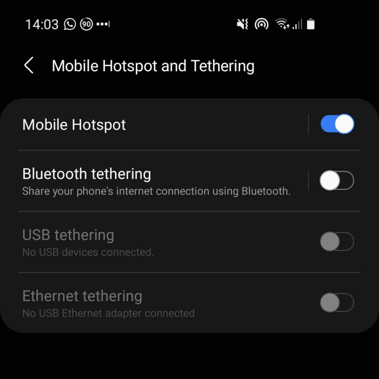 Samsung S10 screenshot showing the mobile hotspot options on Android