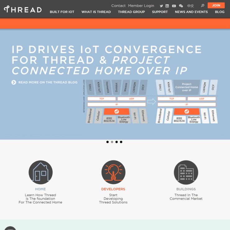 Screenshot of the Thread Group homepage