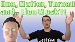 YouTube thumbnail showing me a 3d render of Elon Musk and the text Hue Matter Thread and... Elon Musk