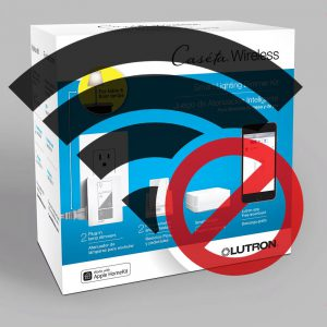 Lutron Caseta starter kit with no WiFi sign on top of it