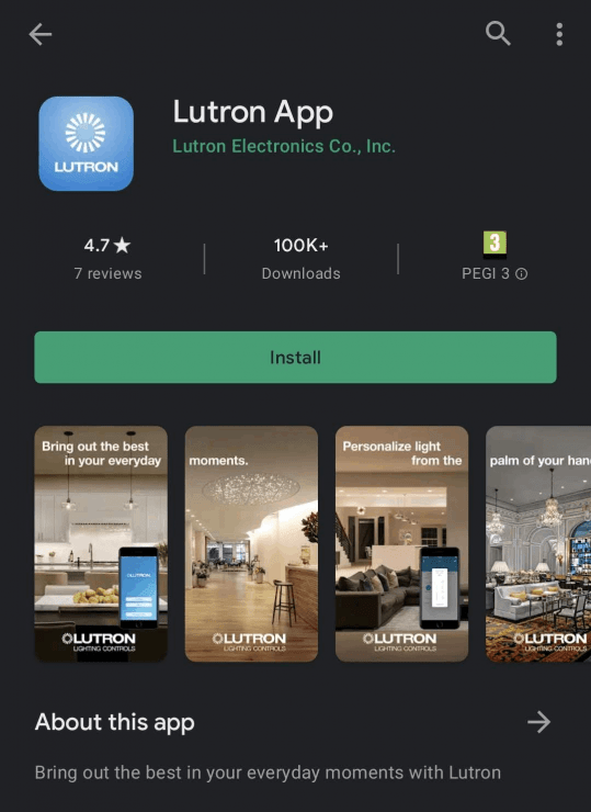The Lutron app which can control Caseta products on the Google Play Store