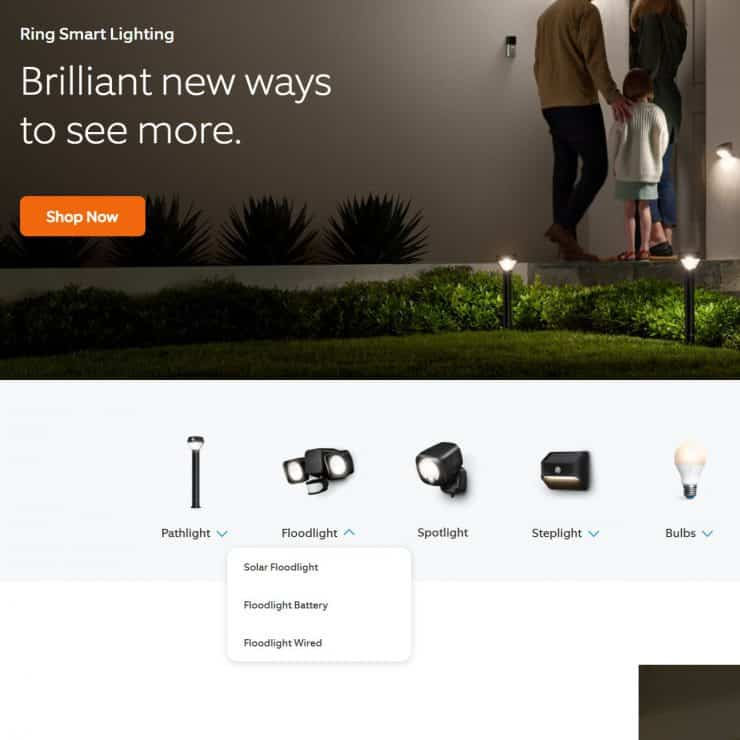A screenshot from Ring.com showing their various smart lights