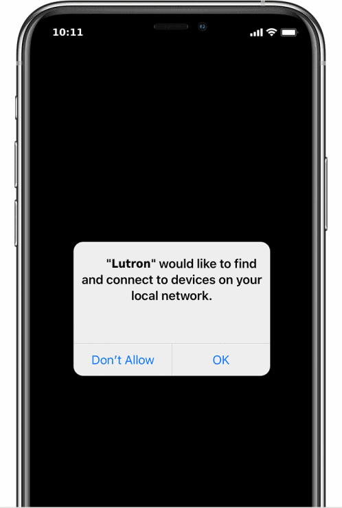 Lutron asking for local network permissions on iOS 14 upwards