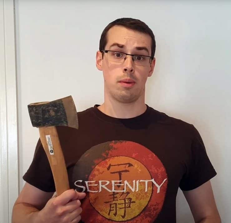 Me holding up an axe